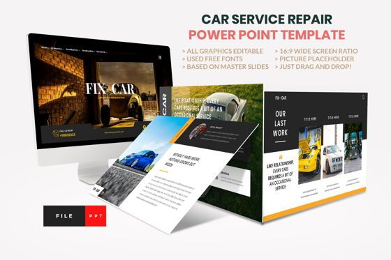 Business: Car Repair Service Power Point Template #08821