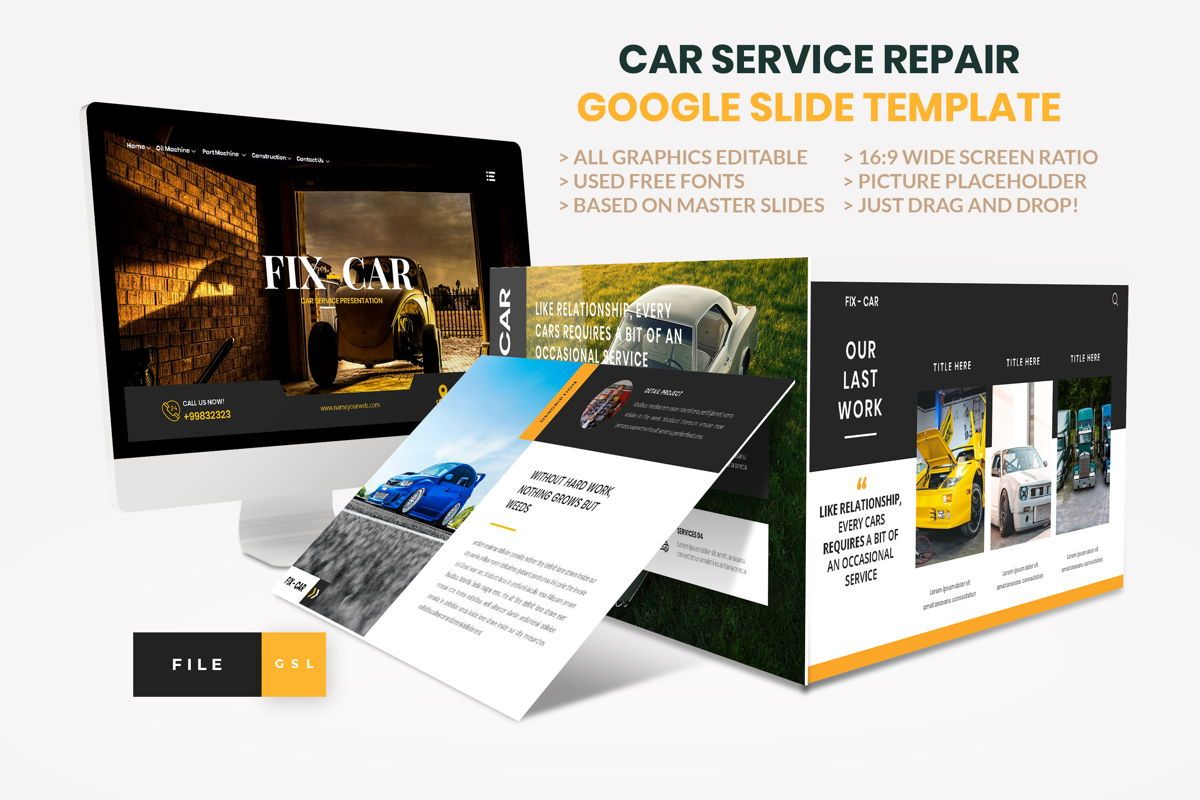 Car Repair Service Google Slide Template, 08822, Business — PoweredTemplate.com