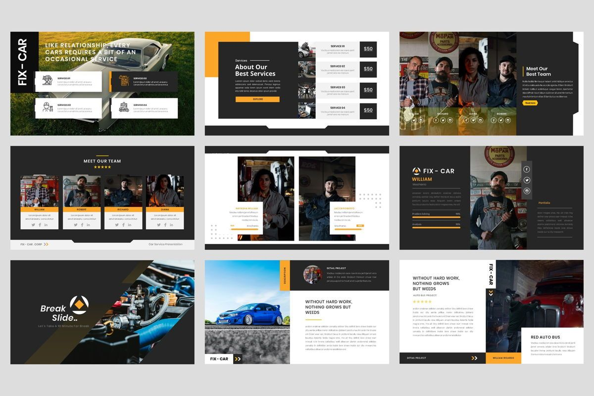 Car Repair Service Google Slide Template, Slide 3, 08822, Business — PoweredTemplate.com