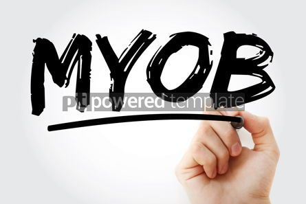 Business: MYOB - Mind Your Own Business acronym with marker business conc #18297