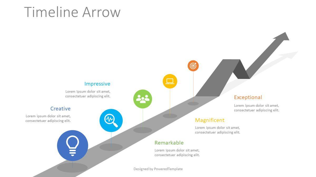 Timeline Arrow Infographic, 08825, Business Concepts — PoweredTemplate.com