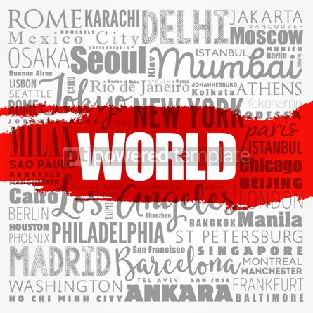 Business: WORLD word cloud concept made with words cities names business #18510
