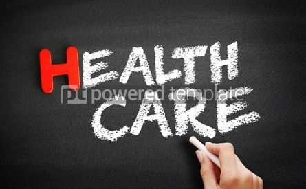 Business: Hand writing Healthcare on blackboard health concept background #18711