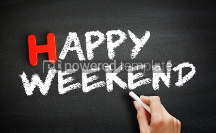 Business: Hand writing Happy Weekend on blackboard concept background #18720