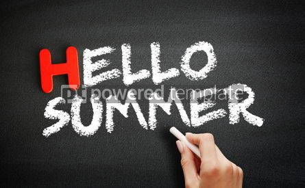 Business: Hand writing Hello Summer on blackboard holiday concept backgro #18723