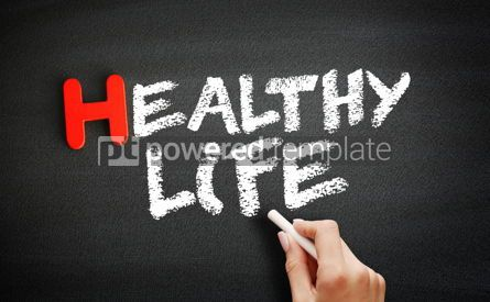 Business: Hand writing Healthy Life on blackboard health concept backgrou #18729