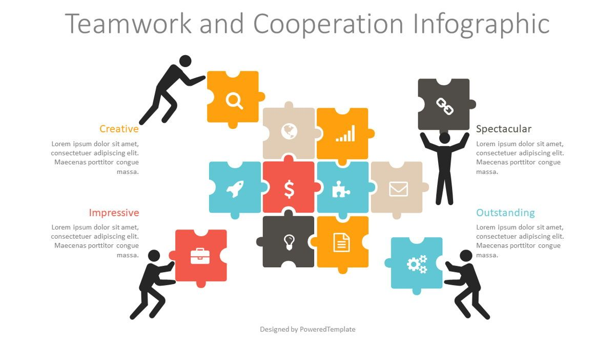 Teamwork and Cooperation Infographic, 08829, Business Concepts — PoweredTemplate.com