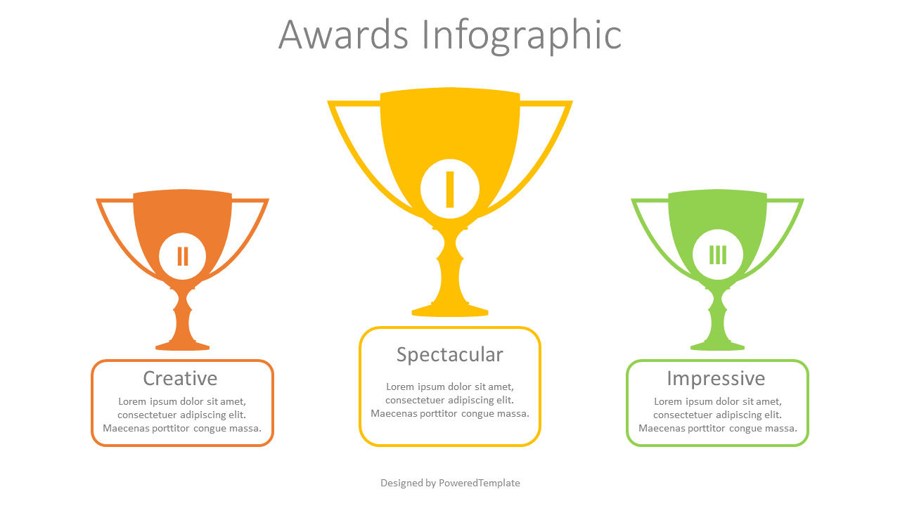 Three Trophy Cups Infographic, 08830, Business Concepts — PoweredTemplate.com