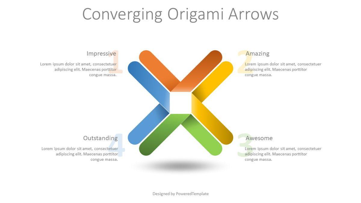 Converging Origami Arrows Infographic, 08832, Business Concepts — PoweredTemplate.com