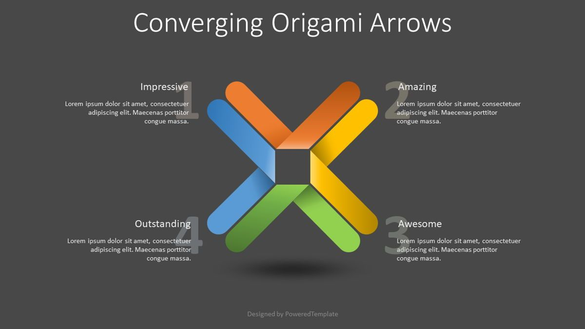 Converging Origami Arrows Infographic, Slide 2, 08832, Business Concepts — PoweredTemplate.com