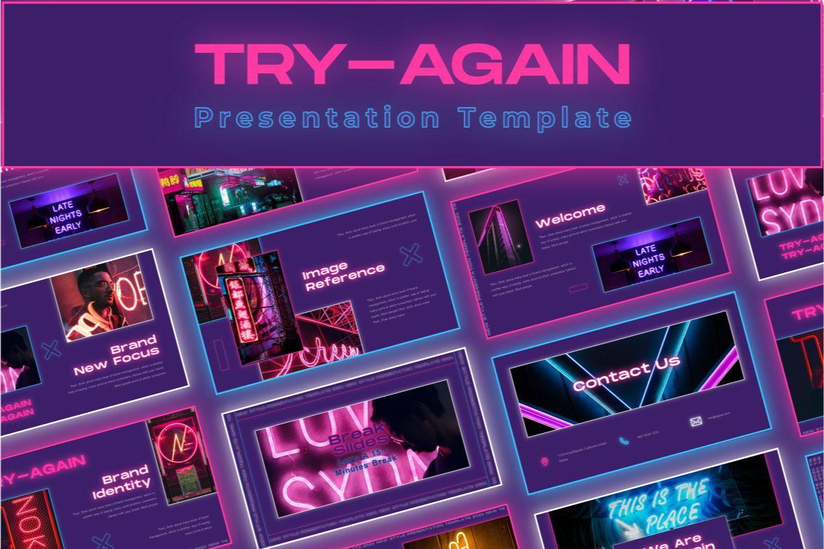 Try-Again Google Slide Template, 08836, Business — PoweredTemplate.com